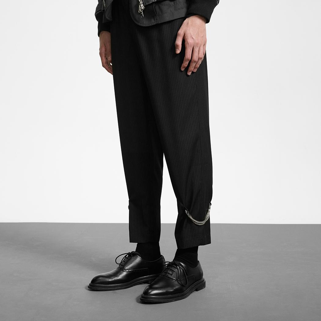 Unawares FW19 脚踝挂链品牌休闲男装九分西裤 黑色