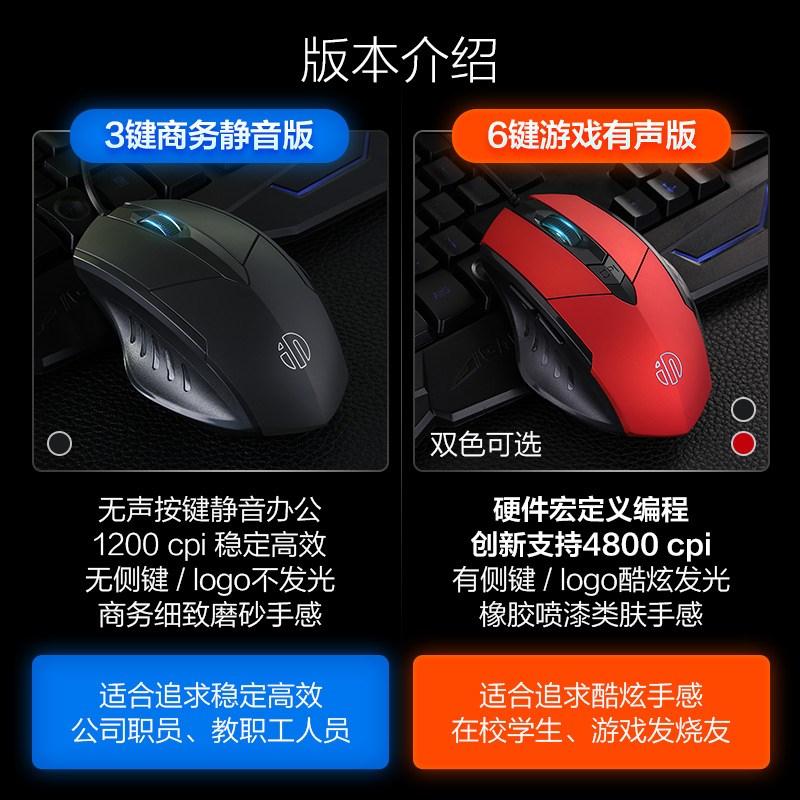 鼠标有线静音无声USB笔记本家用电脑牧马人游戏电竞机械lol
