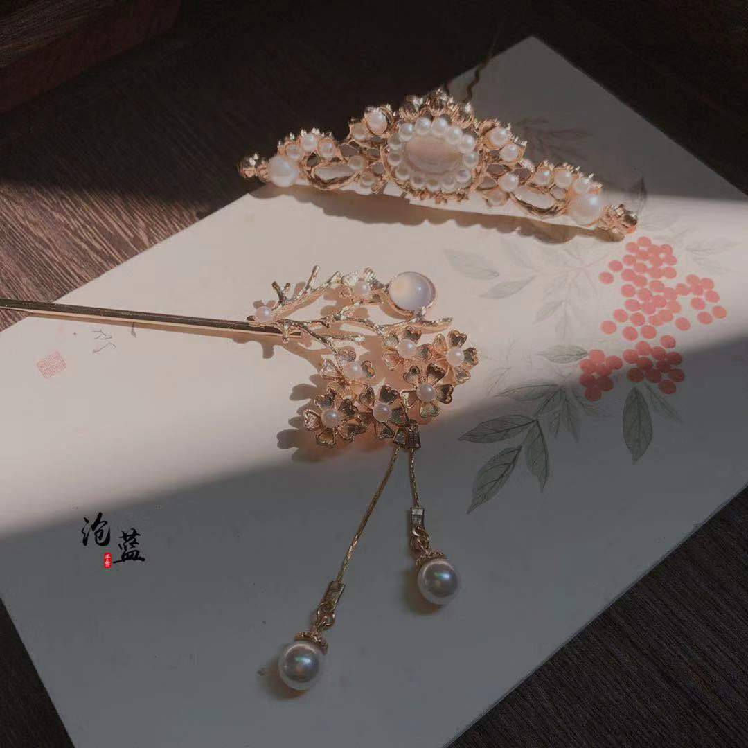 [溪月]沧蓝原创设计发簪汉服发饰套装古风发冠步摇仙气簪子白菜