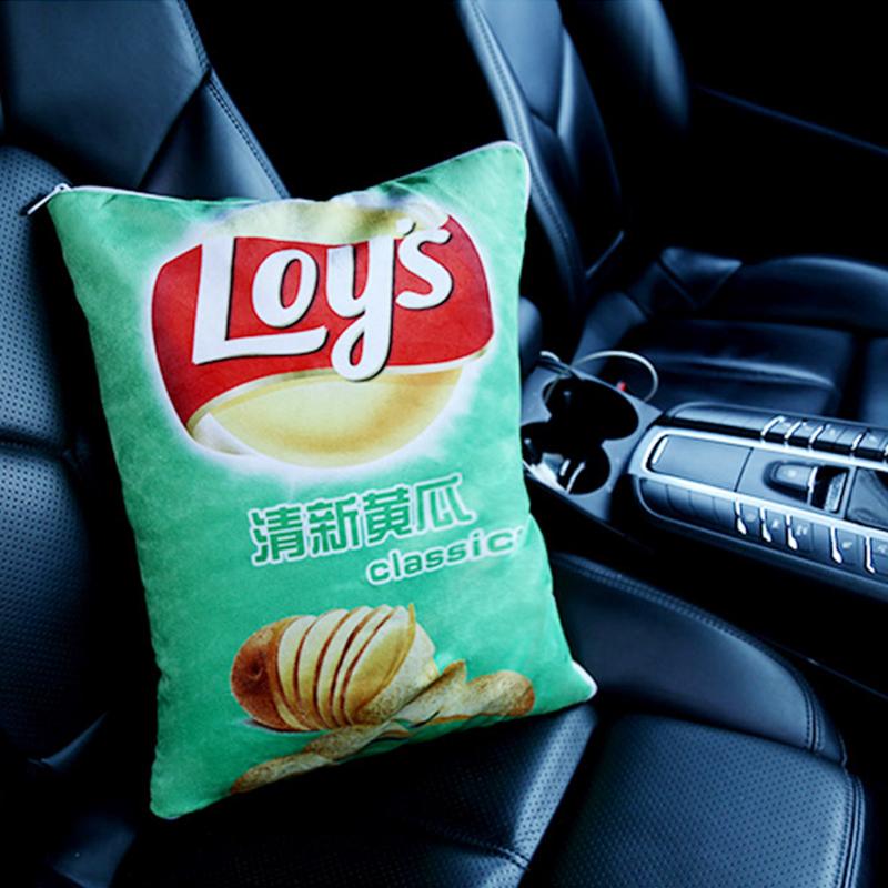 薯片车内抱枕车载毛毯被子两用汽车用后排一对冬季加厚靠垫网红