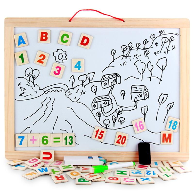 木质45*60双面磁性挂式白板教学办公家用小黑板儿童写字涂鸦画板