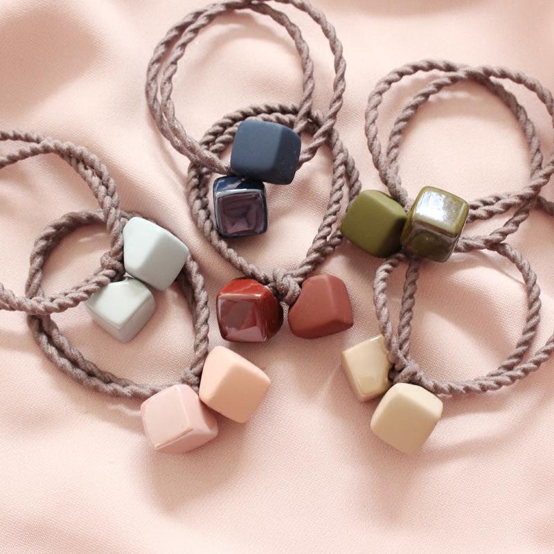 韩国chic磨砂橡皮色发绳可爱方块发圈头绳扎头发橡皮筋发饰头饰品
