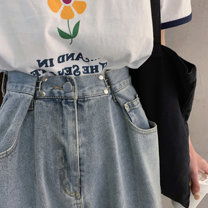 Fat sister plus size jeans loose early autumn loaded new 2019 women's high waist straight wide leg pants was thin tide