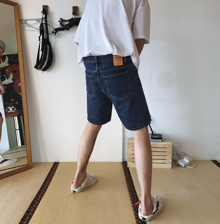 物空宋松  潮牌潮流男生蓝色百搭款修身牛仔短裤中裤五分裤