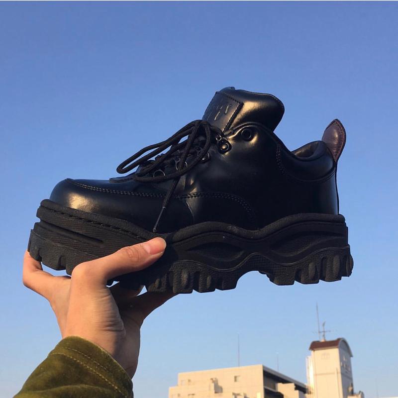 欧美2019春季潮软妹百搭老爹鞋女厚底小皮鞋松糕鞋黑色增高单鞋女