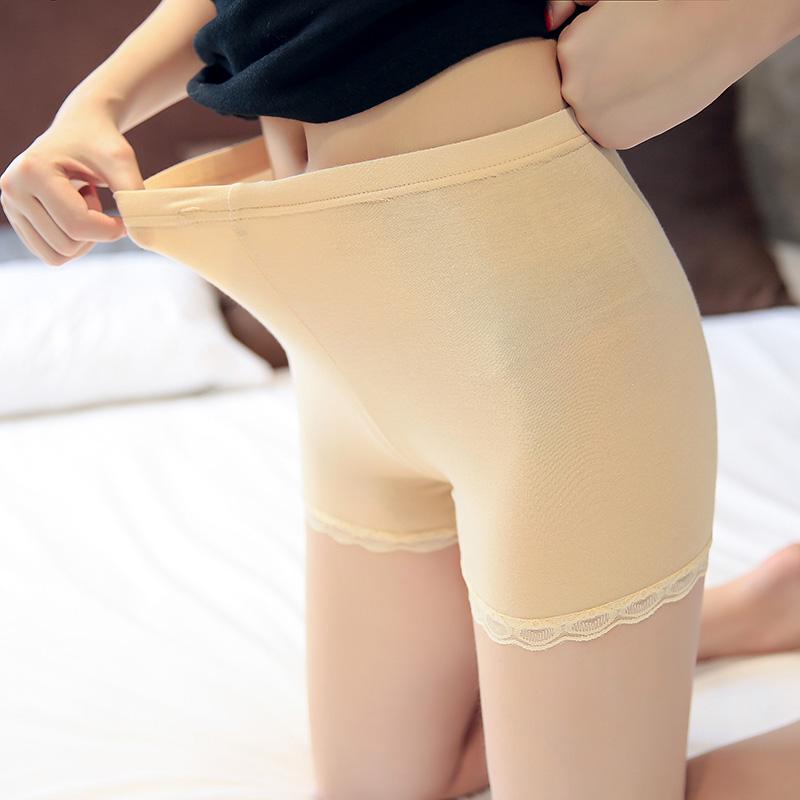 冰丝无痕平角安全裤防走光女夏季防曝光学生少女保险裤肉色黑色薄