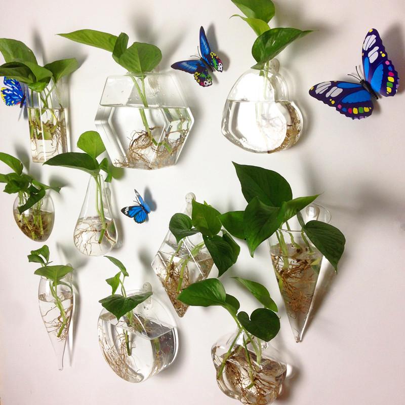 墙壁挂饰玻璃水培花瓶墙上壁挂鱼缸创意客厅挂件墙面装饰绿萝花盆