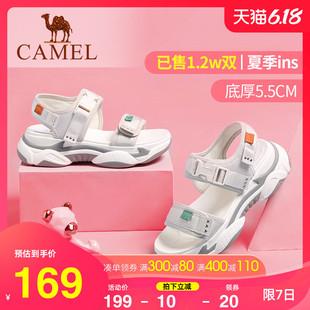 骆驼2020夏季爆款凉鞋ins潮网红老爹鞋女平底运动增高厚底沙滩鞋