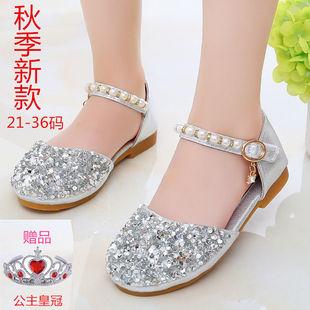 2020新款秋季公主鞋 10岁12小学生女鞋女孩穿的凉鞋 女生水晶鞋子图片