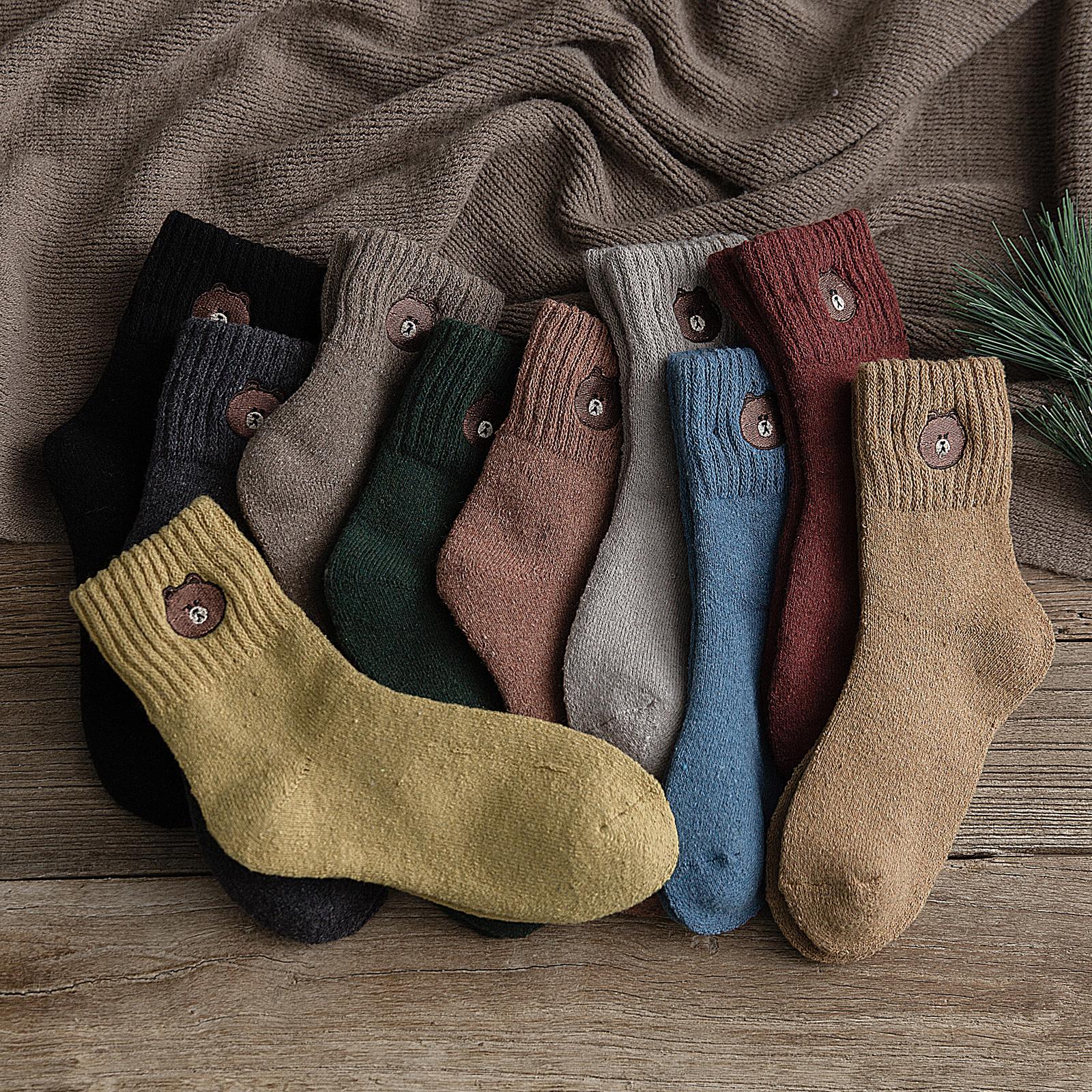 长袜子女中筒袜韩版日系秋冬季加厚毛巾袜保暖加绒毛圈羊毛袜新款