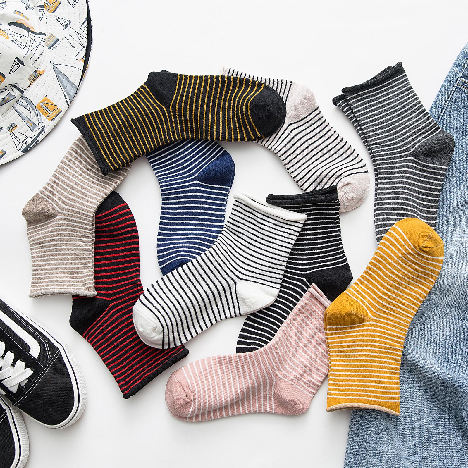 黑白条纹袜子女中筒袜ins潮韩国百搭日系中长袜潮街头秋冬堆堆袜