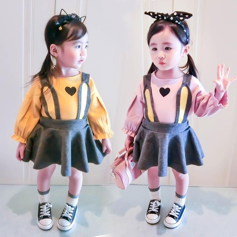 童装2018新款秋装女童1-3-5岁女宝宝裙子儿童T恤+背带裙两件套