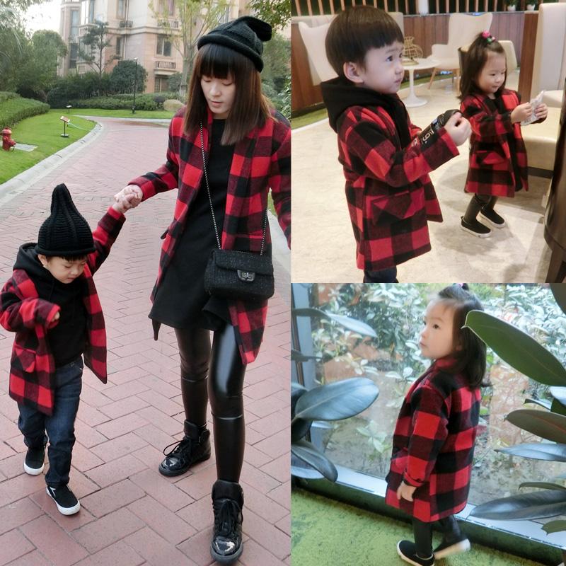 亲子装韩版二胎时代金灿灿明星同款母子外套母女黑红格子毛呢大衣