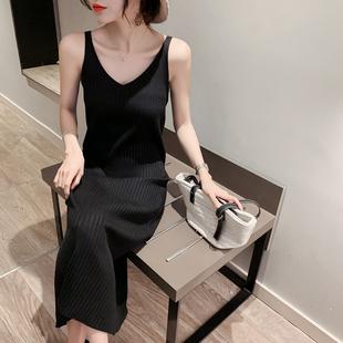 2020秋冬新款针织吊带连衣裙女背心长裙中长款黑色内搭打底裙修身图片