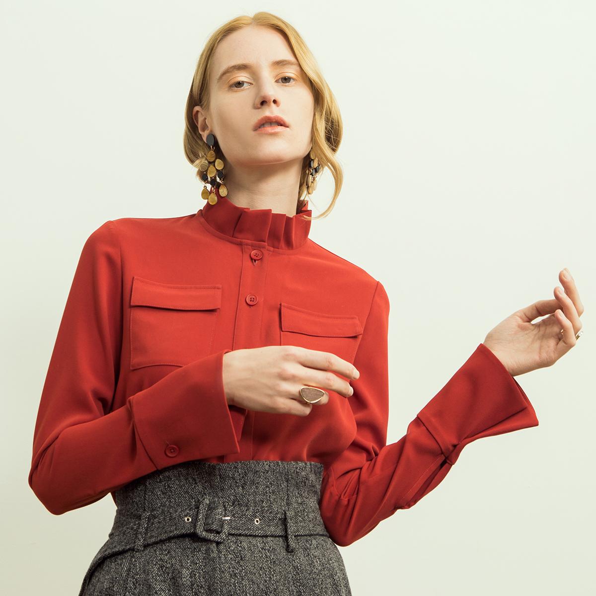 相对纶/炽热/立领开襟大红色衬衫女长袖厚雪纺褶皱花苞领衬衣秋冬