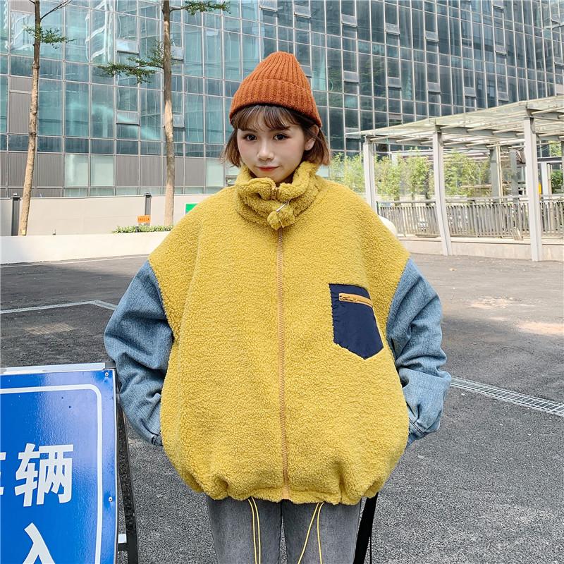 实拍棉服2020秋冬装新款女装韩版宽松立领学生羊羔毛牛仔拼接棉衣 -