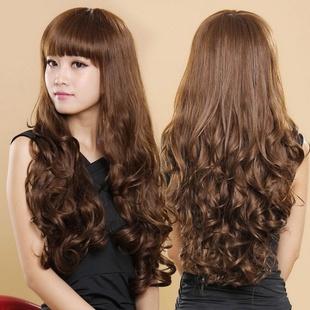 整顶假发女齐斜刘海蓬松女士长卷发假发套长发中老年妈妈假发短发