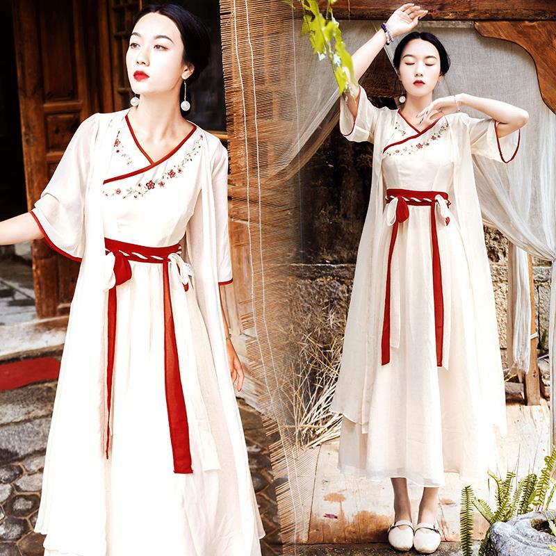 青海湖旅游女装民族风衣服西藏茶卡盐湖裙子文艺两件套度假连衣裙