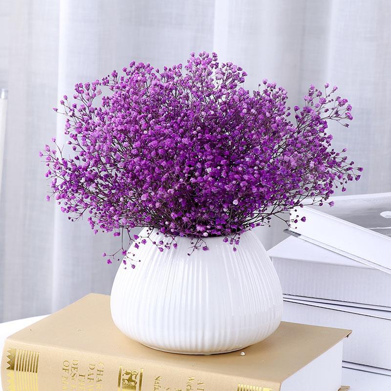 满天星带花瓶永生花真插干花花束家居摆设小清新摆件客厅房间装饰