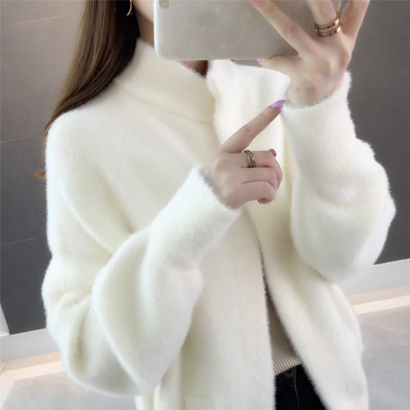 2019秋冬新款韩版慵懒风毛衣外套女纯色宽松针织开衫仿水貂绒上衣