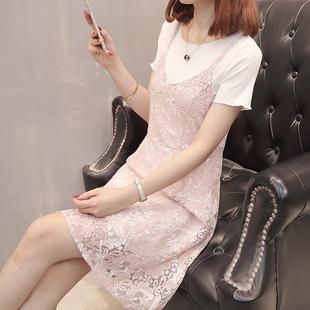 蕾丝镂空印花连衣裙夏裙子两件套