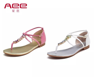 AEE/爱意夏款牛皮平底夹趾 舒适沙滩时尚波西米亚女凉鞋