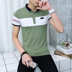 2018,夏天,男士,拼接,短袖,t恤衫,夏季,男装,衣服,翻领,纯棉,t桖衫,绿色