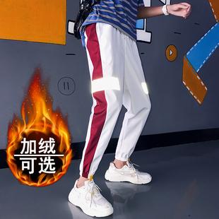 加绒休闲裤男士嘻哈hiphop反光裤子夜光会发光的衣服国潮串标街舞