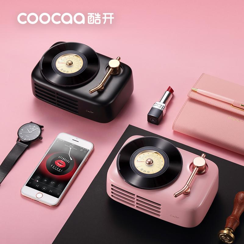 coocaa/酷开Live-time无线蓝牙音箱低音炮2.0双声道老式复古留声机摆件古典收音机少女小型音响便携创意送礼