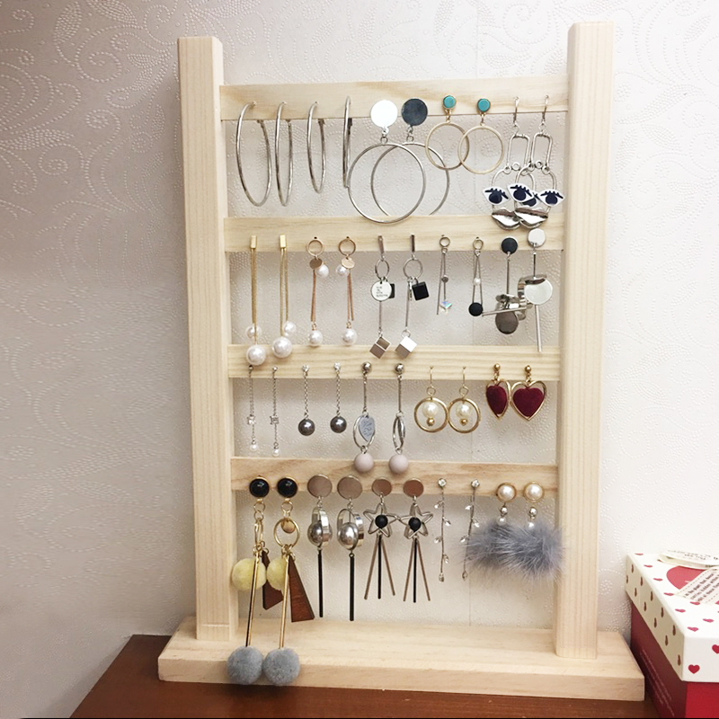 耳环架子家用首饰架实木耳饰收纳耳钉架挂耳夹饰品架珠宝展示道具