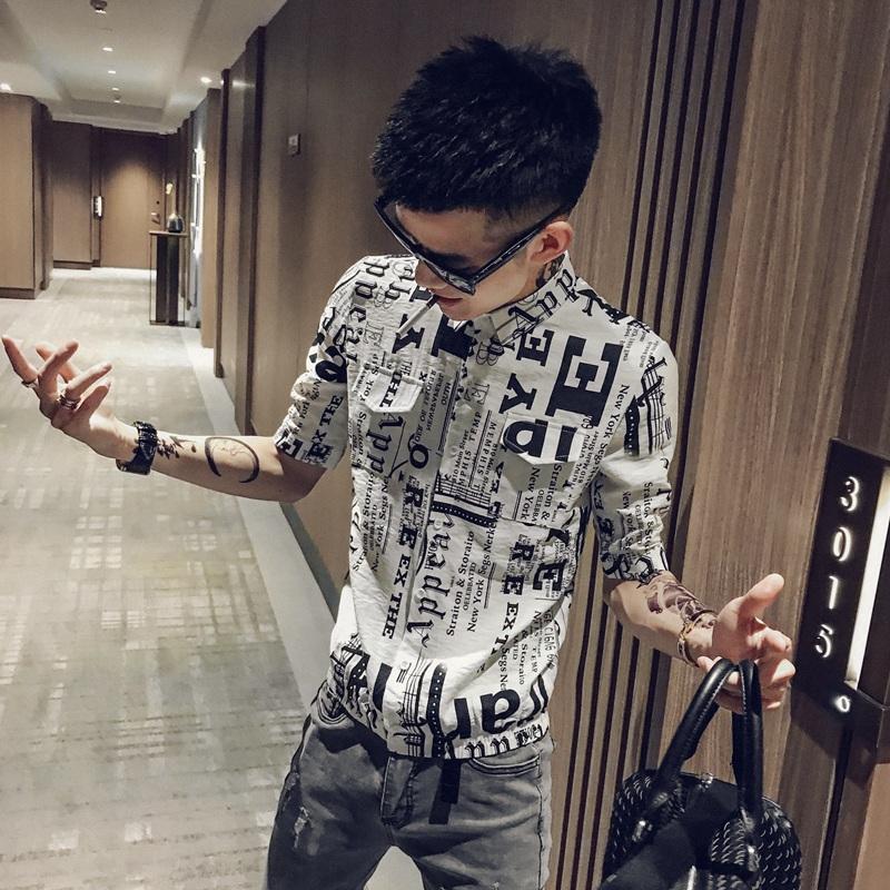 社会人短袖衬衫男夏季韩版潮流帅气五分袖衬衣夜店潮男发型师上衣