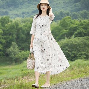 小碎花連衣裙夏季苧麻印花棉麻泰國普吉島沙灘裙竺麻白色女仙氣質
