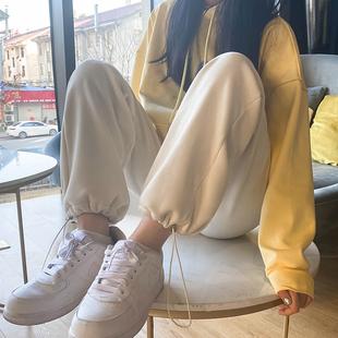 灯芯绒裤子女秋冬直筒宽松束脚加绒白色2020新款雪尼尔阔腿运动裤