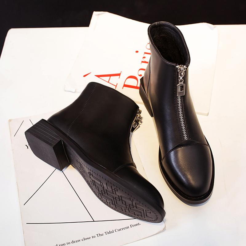 马丁靴女2019秋新款英伦单靴冬季保暖加绒女靴舒适百搭前拉链短靴