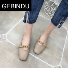 Gebindu spring and summer 2018 shallow mouth single shoes Korean version Mary Jane shoes thick heel casual shoes grandma shoes students