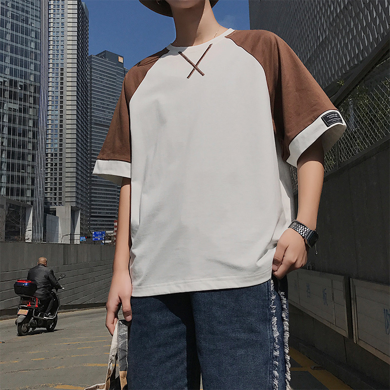 潮男帮夏季男士短袖t恤青少年圆领半袖体桖潮流男装上衣服男纯棉