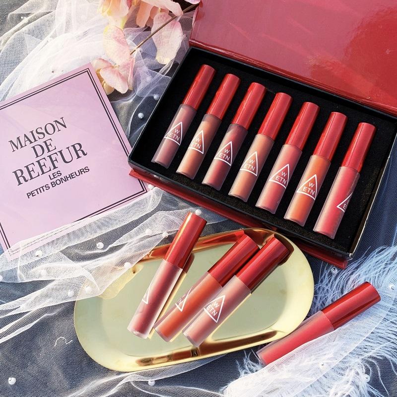 丝绒哑光雾面7只装组合唇釉套装持久不易脱色韩国防水唇釉枫叶红