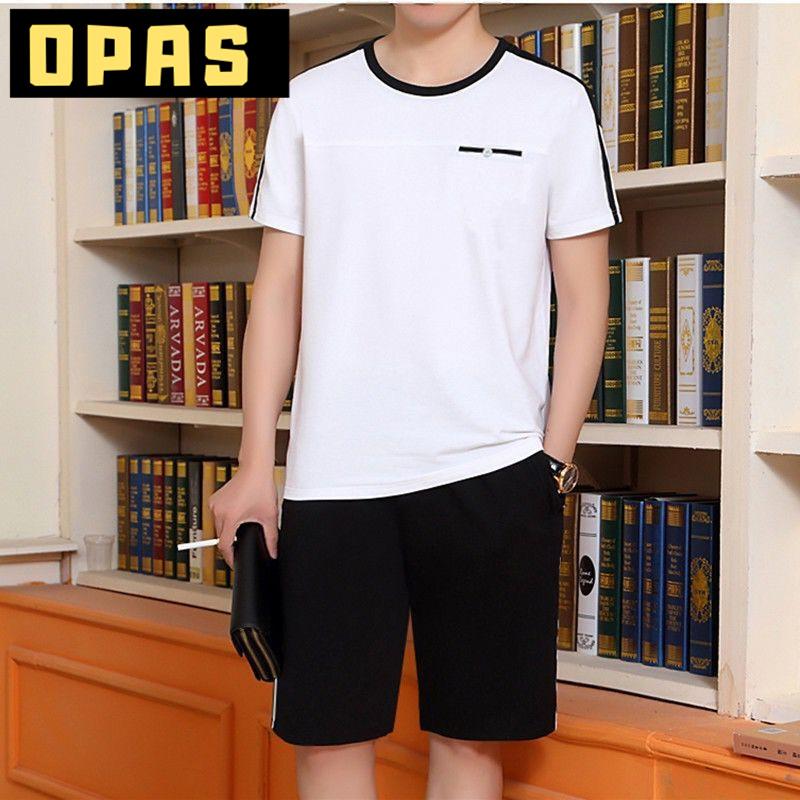 两件套夏季运动套装男夏季中年老年爸爸装休闲短袖短裤跑步服装