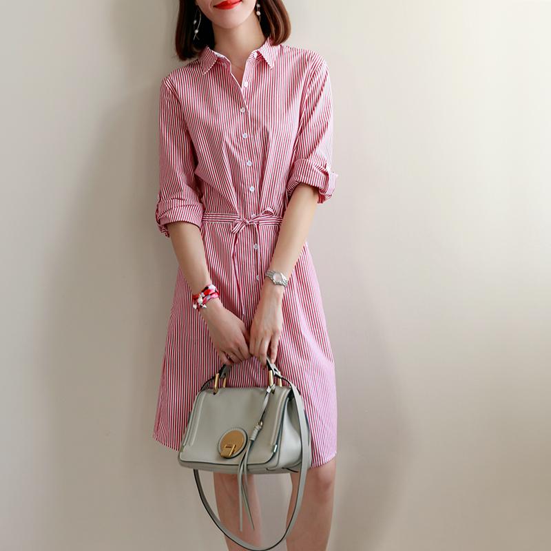 果冻家 轻松时髦感 年轻减龄 简洁清爽收腰条纹连衣裙纯棉衬衫裙