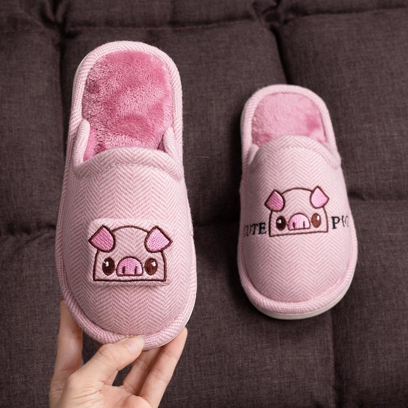 棉拖鞋儿童室内防滑软底包跟加绒保暖居家亲子可爱小孩宝宝拖鞋冬