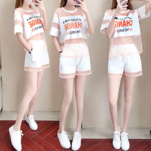 运动休闲两件套女2020夏装新款洋气宽松短裤chic港味网红时尚套装