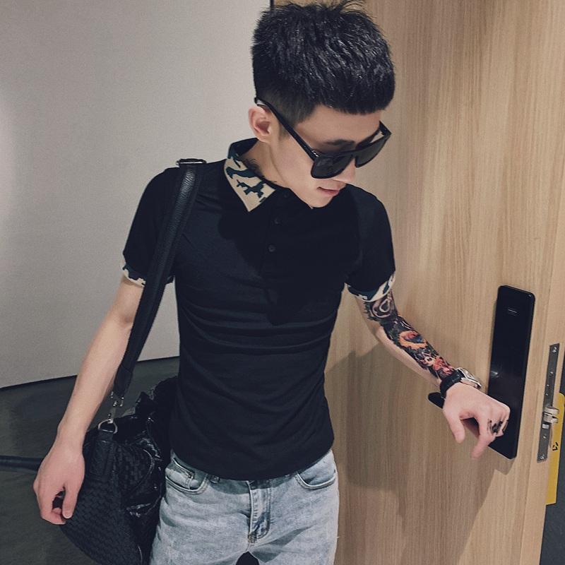 网红潮牌迷彩翻领男士短袖T恤夏季社会人修身半袖精神小伙polo衫