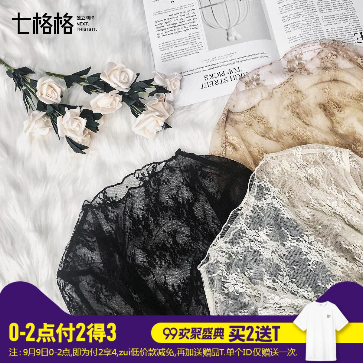 黑色蕾丝打底衫长袖秋装女2018新款镂空内搭宽松碎花网纱上衣小衫
