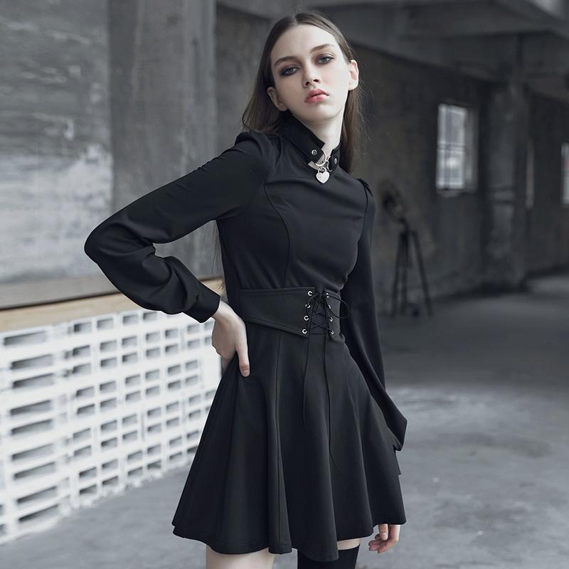 PR朋克状态暗黑系复古女装连衣裙2018秋冬新款显瘦长袖高腰小黑裙