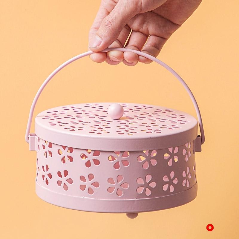 可手提铁艺镂空蚊香盒室内家用防火带盖托盘创意复古蚊香盘蚊香架