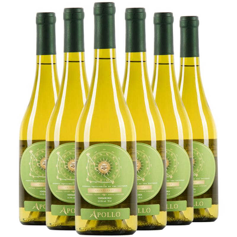 智利原装原瓶进口红酒  霞多丽干白葡萄酒 整箱6支装 正品红酒