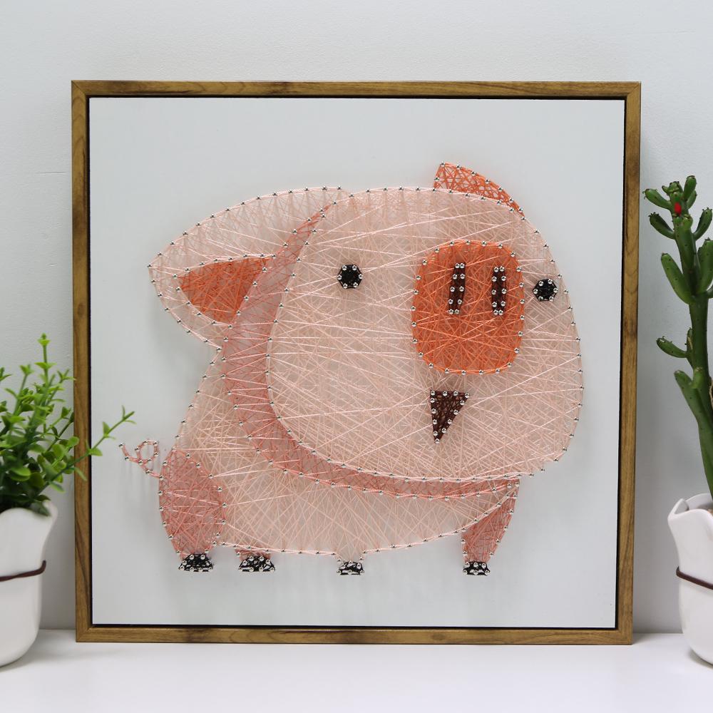 希风弦丝画diy手工制作材料包动物猪创意装饰钉子绕线画北欧纱线