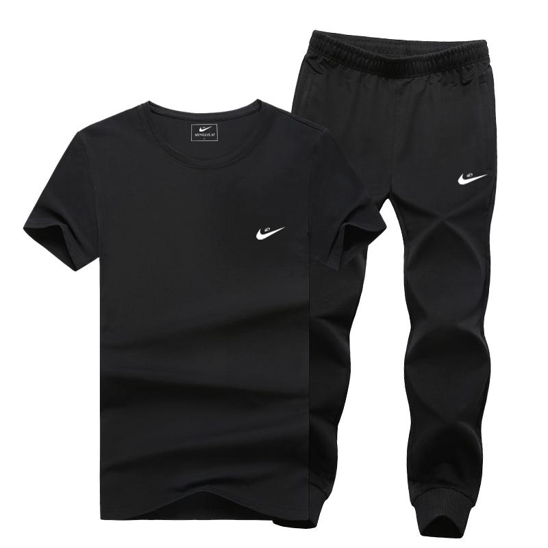 夏季大码休闲运动套装男士纯棉短袖长裤套装跑步运动服男春季2019