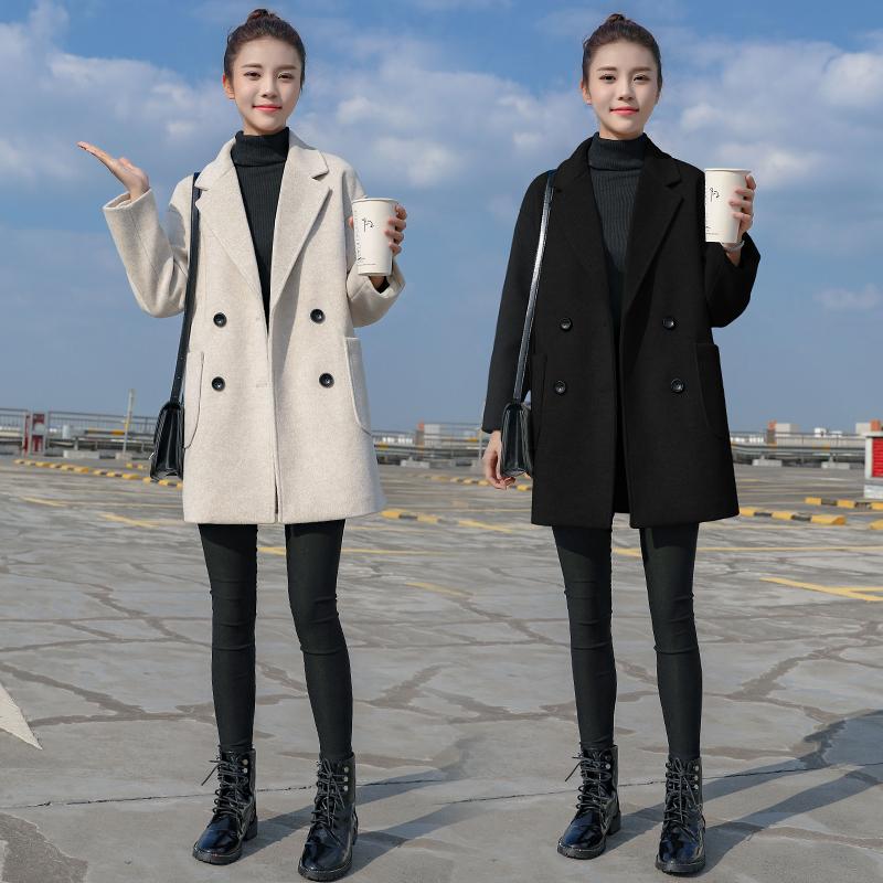 毛呢外套女中长款小个子2019秋冬季新款妮子韩版加厚流行呢子大衣
