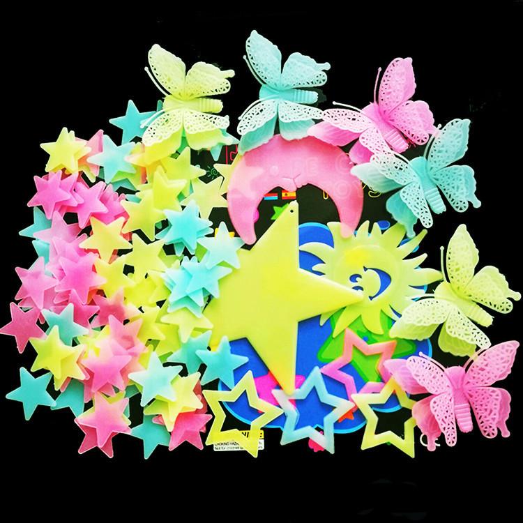 墙上装饰品蝴蝶月亮荧光贴字发光星星贴夜光贴纸3d立体流星雪花贴